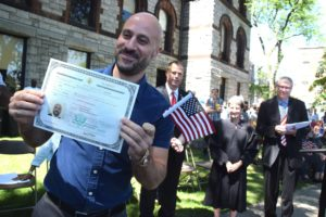 Welcoming new Americans at the July 4th naturalization ceremony